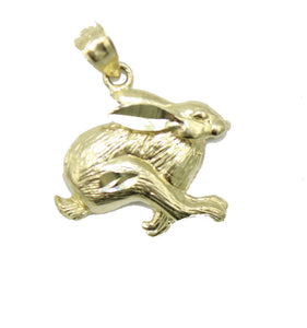 Bunny Pendant 10k Solid Yellow Gold Pendant - Bunny 10k Yellow Gold Charm