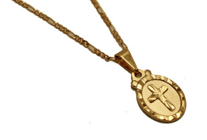 Cross Oval Medal Pendant 18k Gold Plated Medal with 18 inch Chain - Cross Medal