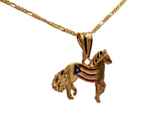 Puerto Rico Horse Flag 18k Gold Plated Pendant with 22 inch Chain - Pto Rico
