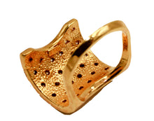 Fashion Design Curved Ring with Cz Ring 18k Gold Plated Ring - Curved Ring