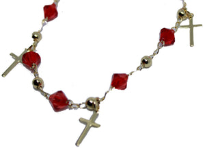 Cross with Red Crystal  7 inch Charm Bracelet 18k Gold Plated  Bracelet