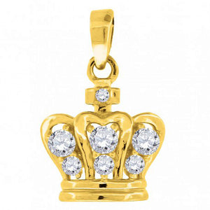Crown Pendant 10k Solid Yellow Gold Pendant - Crown with CZ Charm Pendant