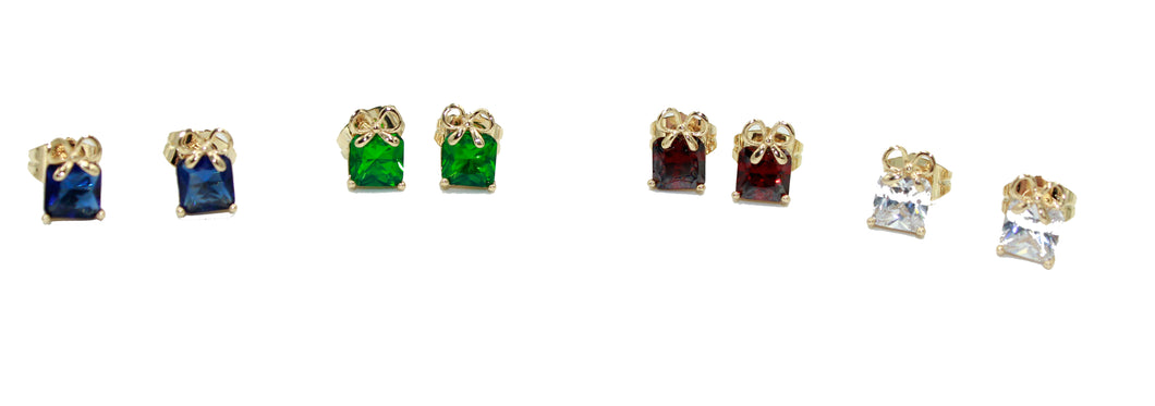 Red , Blue, Green & Clear Gift Box Earrings 18k Gold Plated - Gift Box Studs