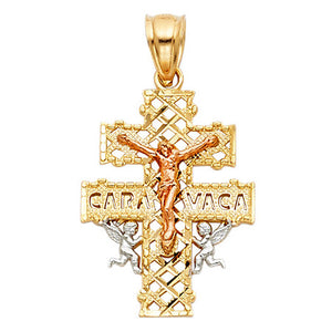 Caravaca Cross Pendant 14k Gold Plated Pendant - Caravaca Three Tone 14k Gold Pendant