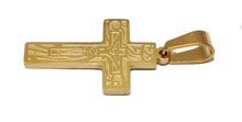 Crucifix Cross Stainless Steel Gold Plated Pendant with 18 inch Chain