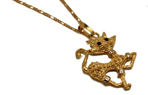 Cat Pendant 18k Gold Plated Pendant with 20 Inch Chain - Cat Necklace