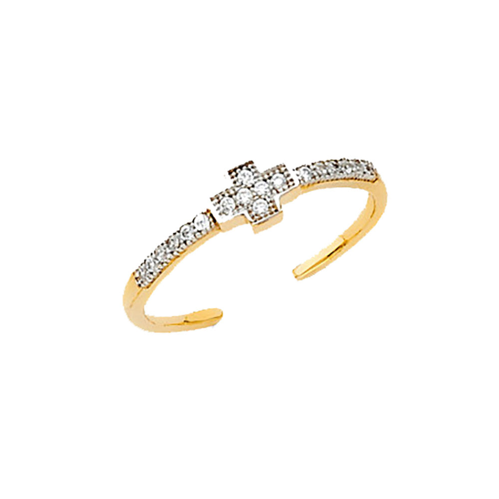Cross Toe Ring 14k Yellow Gold Pendant with CZ - Cross Toe CZ 14k Gold Ring