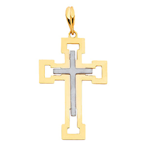 Cross 14k Two Tone Gold Pendant - Cross Charm 14k Gold