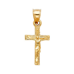 Crucifix Cross Pendant 14k Yellow Gold - Crucifix 14k Solid Yellow Gold Cross