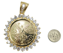 Centenario Coin with CZ Pendant with 24 inch Chain 18k Gold Plated