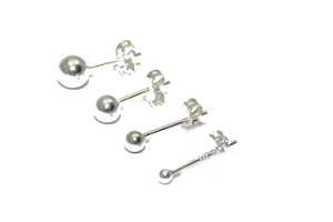 Ball 4mm Stud Earring .925 Sterling Silver - 4mm Ball Studs .925 Sterling Silver