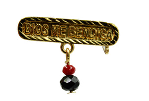 Dios Bendiga Azabache with Cross Brooch Pin 18k Gold Plated - Azabache Brooch