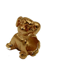Dog 3D Bead Bracelet Charm 18k Gold Plated - Dog Bead 18k Gold Plated