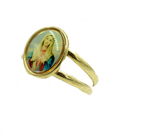 Sacred Virgin Mary Heart Band Ring - Sacred Virgin Mary Heart Ring Size 6 to 9