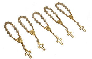 36pc Mini Rosary Christening Comunion Party Favor Gold Plated Pearl Decenario