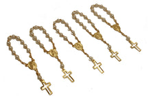 48pc Mini Rosary Christening Comunion Party Favor Gold Plated Pearl Decenario