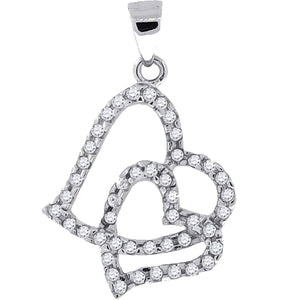 Heart Pendant CZ .925 Sterling Silver - Double Heart CZ Silver Charm