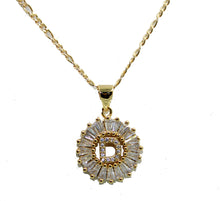Initial Letter CZ Necklace 18k Goldplated Necklace with 20 inch Chain - Initial