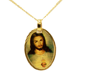 Jesus Face Medal - Jesus Dulce Mirada Medalla 14k Gold Plated Medal with 18 Inch