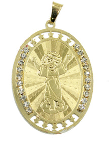 Divino Niño  Oval Pendant with 18 inch Chain 18k Gold Plated Pendant
