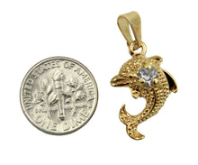 Dolphin Pendant with CZ 18k Gold Plated with 20 inch Chain - Dolphin Charm