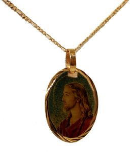 Jesus Christ Face - Divino Maestro 14k Gold Plated Medal with 18 inch Chain