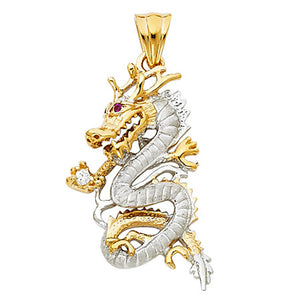 Dragon Pendant with CZ 14k Solid Yellow Gold Pendant - Dragon 14k Gold Pendant