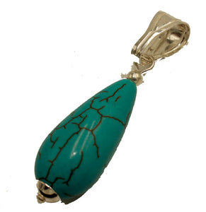 Turquoise Drop Pendant .925 Sterling Silver - Turquoise Drop Silver Charm