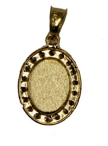 Divino Niño Oval Pendant with 20 inch Chain 18k Gold Plated