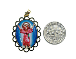 Divino Niño Jesus Medal 18k Gold Plated with 20 inch Chain - Child Christ Medal