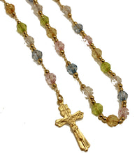 Divino Niño Multicolor Beads Rosary Necklace 18k Gold Plated 24 inch