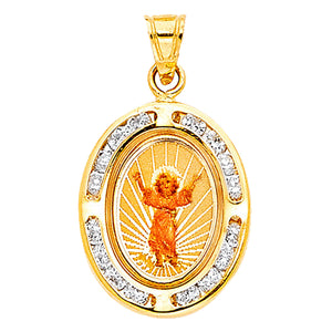Divino Niño Jesús 14k Yellow Gold Medal with Clear CZ Bezel - Child Christ Medal