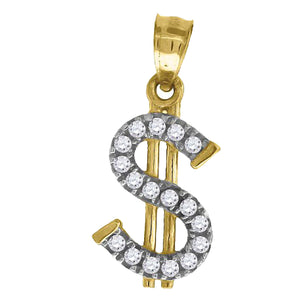 Dollar Sign with CZ Pendant 10k Solid Yellow Gold Pendant - Money Sign Charm