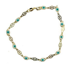 Evil Eye Anklet Foot Chain 18K Gold Plated Ankle Charms Bracelet 10 Tobillera