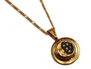 Eclipse Sun & Moon 2 Sided Charm 18k Gold Plated with 20 inch Chain