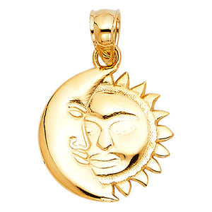 Eclipse Pendant 14k Yellow Gold Pendant - Sun and Moon 14k Gold Pendant