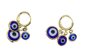 Blue - Red Evil Eye Hoop Earrings 18k Gold Plated Earrings - Red Evil Eye Hoop