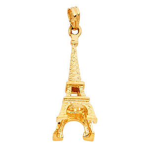 Eiffel Tower Paris Bold Charm 14k Yellow Gold Pendant - Eiffel Tower Charm Gold