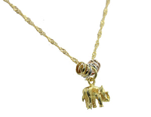 Elephant Charm 20 inch Necklace 18k Gold Plated - Elephant Necklace
