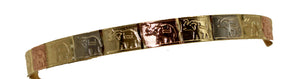 Elephant Lucky Bangle Bracelet 18k Gold Plated Bangle 2 3/4 inch - Elephant
