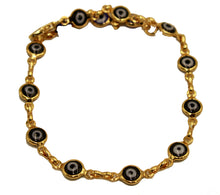 Evil Eye Anklet Foot Chain 18K Gold Plated Black Anklet 9.5 inch Tobillera