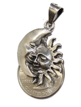 Eclipse Sun & Moon Oxidized .925 Sterling Silver Pendant - Eclipse Mexico Taxco