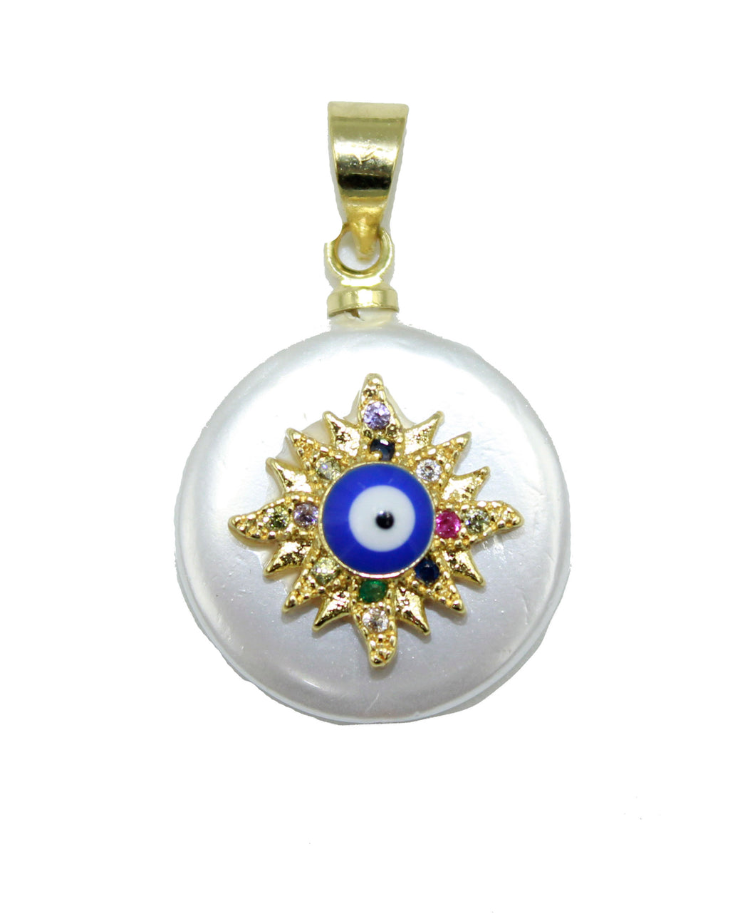 Evil Eye Pearl Necklace 18k Gold Plated - Evil Eye Pendant with 20 inch Chain