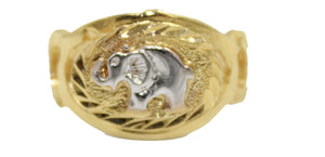 Elephant Two Tone Gold 18k Gold Plated Ring Size 7 - Elephant Ring