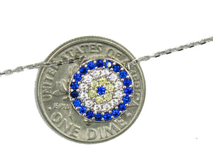 Evil Eye with Cross 14k White Gold Pendant - Evil Eye Charm with CZ 14k Gold