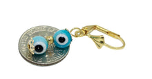 Evil Eye Double Ball 18k Gold Plated Earrings - Evil Eye Dangle Earrings