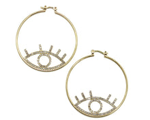 Open Eye Hoop Earring with Rhinestone 18k Gold Plated - Evil Eye Hoop