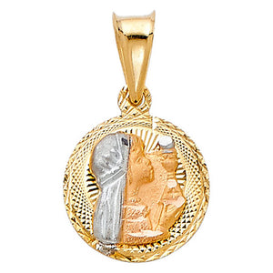 First Communion Girl Round Medal 14k Solid Three Tone Gold - Girl Communion