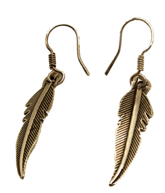 Feather Dangle Earrings .950 Fine Silver Earrings - Feather Dangle Earrings