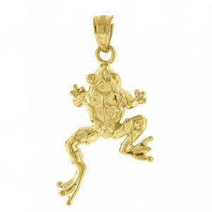 Frog Pendant 10k Solid Yellow Gold Pendant - Frog 10k Gold Pendant